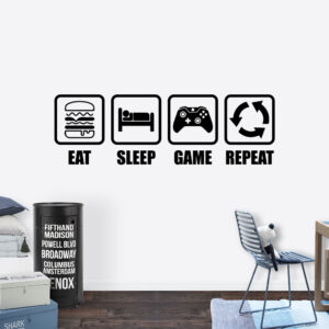 Muursticker - Eat-sleep-game-repeat